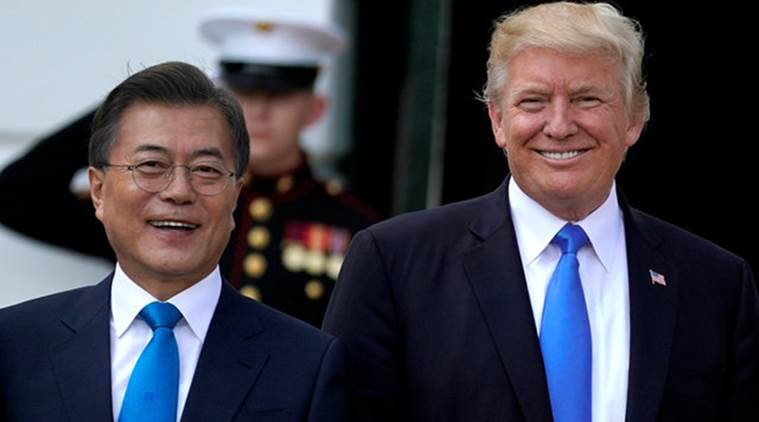 Trump, in talks with South Korea's Moon, says sanctions on North Korea to stay in place