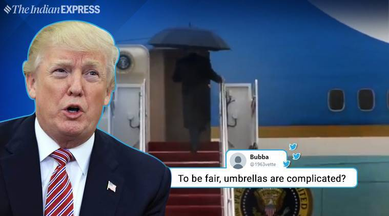 Donald Trump, Donald Trump umbrella moment, US president, POTUS, Donald Trump viral video, Melania Trump, Donald Trump umbrella, twitter reactions, indian express, indian express news