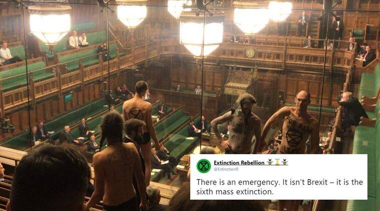 brexit, uk parliament, house of commons, semi nude protest brexit, nude protest UK parliament, mass extinction, climate change, climate change UK Parliament protest, Brexit debate, viral news, indian express