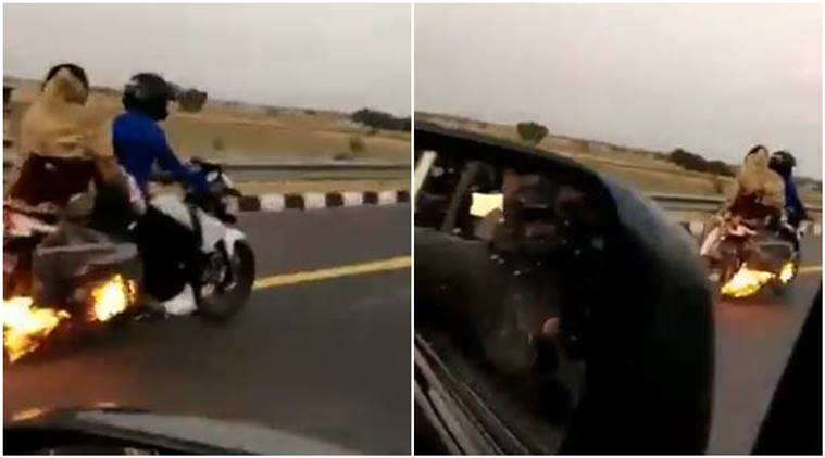 UP police, speeding bike fire, bike catches fire, agra expressway, UP cops stop fire, fire, bike on fire, viral video