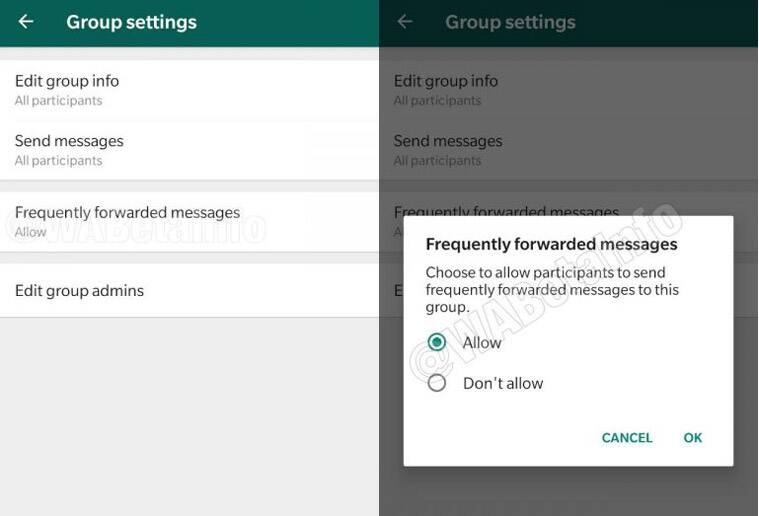 WhatsApp block forwards