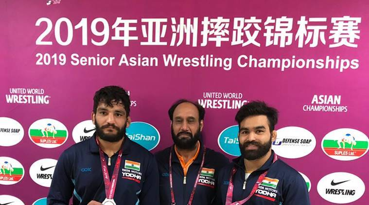 Sunil Kumar and Gurpreet Singh at the Asian Wrestling Championships.