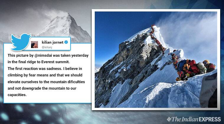 Viral photo of trekkers waiting to summit Mt Everest stuns people online