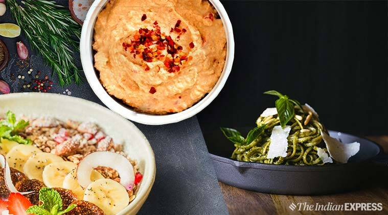 granola, granola bowl, food, food recipe, indian express, pesto pasta, hummus