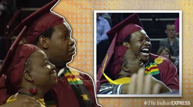 Mother skips her own graduation to attend son's, but gets a pleasant surprise