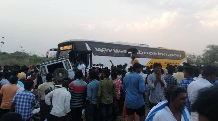 Andhra pradesh bus accident, andhra bus accident, bus accident, telangana, telangana passengers dead, bus collides with car, Veldurthu accident, indian express