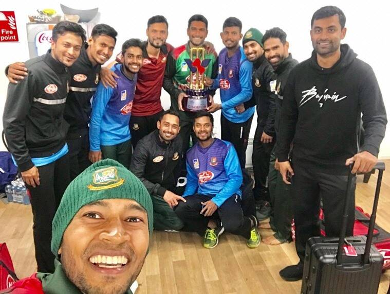 Bangladesh cricket team after beating West Indies in the tri-series final in Ireland