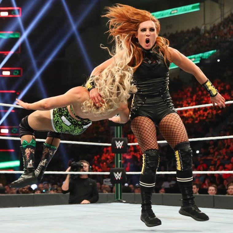 Becky Lynch and Lacey Evans at WWE Money in the Bank
