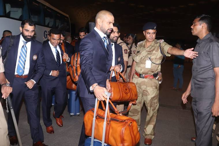 Shikhar Dhawan, Rohit Sharma and Mohammed Shami at the Mumbai Airport