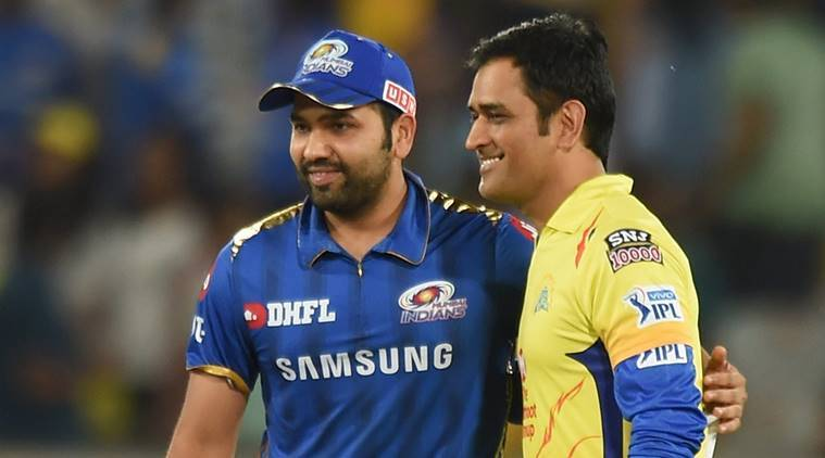 Skippers of Chennai Super Kings (CSK) MS Dhoni and Mumbai Indians (MI) Rohit Sharma before the Indian Premier League 2019 Final cricket match between Chennai Super Kings (CSK) and Mumbai Indians (MI) at Rajiv Gandhi International Cricket Stadium in Hyderabad