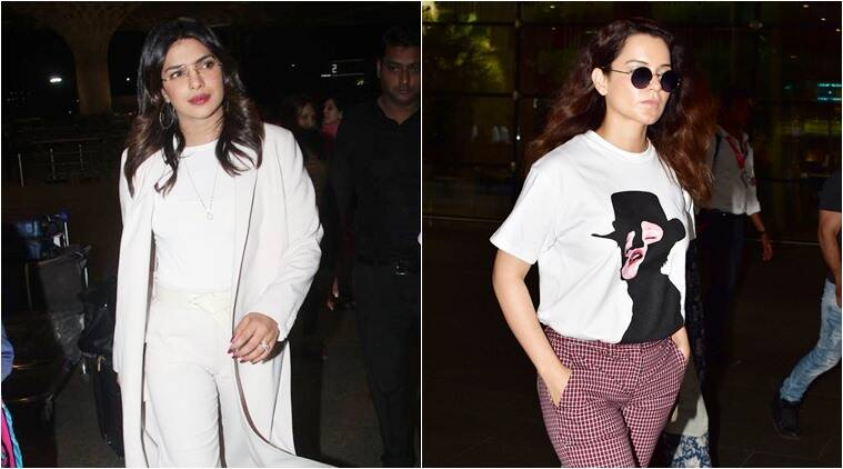 Priyanka Chopra, Kangana Ranaut, airport fashion, celeb fashion, indian express, indian express news