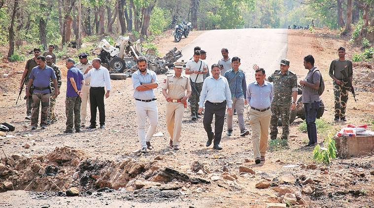 gadchiroli naxal attack, gadchiroli landmine blast, gadchiroli ied blast, ied blast at gadchiroli, naxal attack in gadchiroli, maharashtra naxal attacks, india news, Indian Express