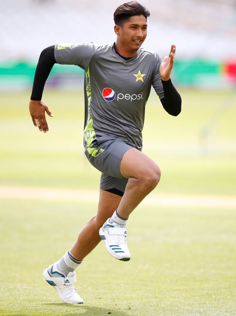 Pakistan's Mohammad Hasnain during nets
