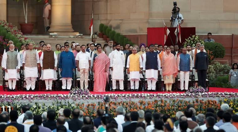Narendra Modi swearing in ceremony, Narendra Modi cabinet, Narendra Modi council of ministers, modi takes oath, new ministers in modi cabinet, Amit Shah, S Jaishankar, India news, Indian Express