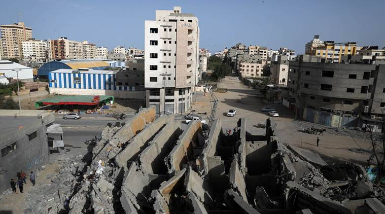 Gaza building hit by Israel airstrikes