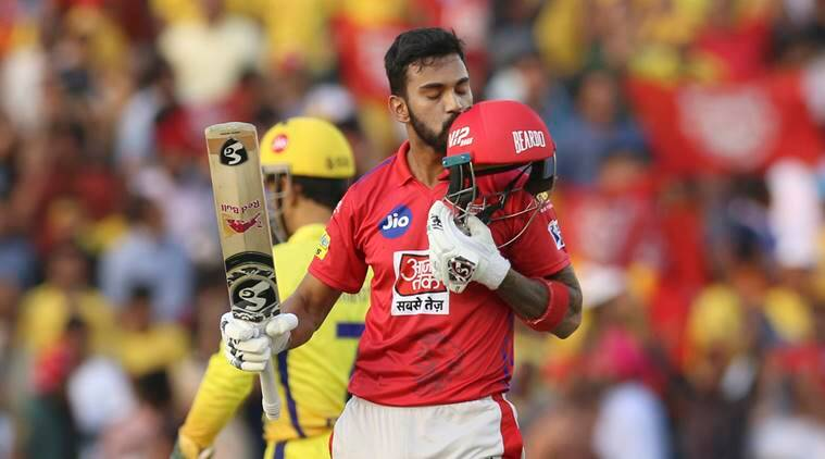 KL Rahul of Kings XI Punjab, kisses his helmet as he celebrates fifty runs during the VIVO IPL T20 cricket match between Kings XI Punjab and Chennai Super Kings in Mohali, India
