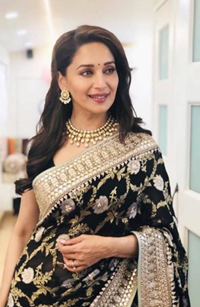 Madhuri Dixit, Madhuri Dixit birthday looks, Madhuri Dixit latest photos, Madhuri Dixit fashion, Madhuri Dixit smile, Madhuri Dixit saris, Madhuri Dixit ethnic saris, indian express, indian express news