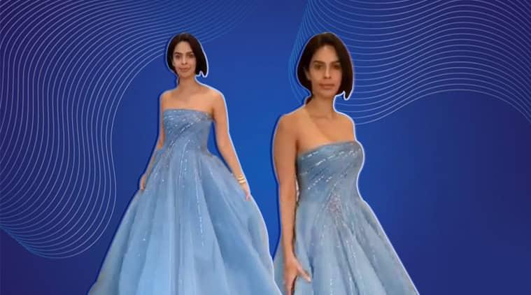 Mallika Sherawat, Mallika Sherawat blue gown, Mallika Sherawat Cannes 2019