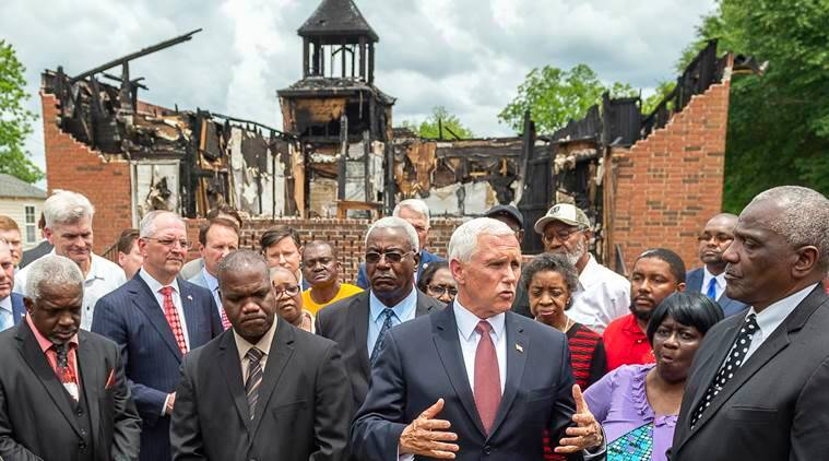 mike pence, mike pence visits black churches, us vice president, us black church arson, us black church attack