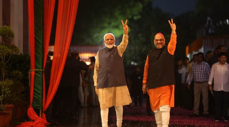Narendra Modi swearing in ceremony, Narendra Modi cabinet, Narendra Modi council of ministers, Amit Shah, Amit Shah joins Modi government, BJP, Modi-Shah, India news, Indian Express, Election news