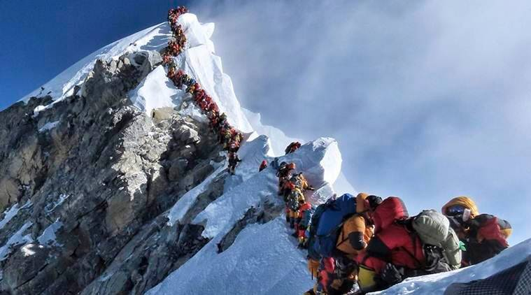 everest traffic jam, mount everest, nepal, mountaineers dead, death on everest, everest climbing, mount everest climbing, sherpa, parth upadhyay, aditya gupta, everest summit, india news, indian express