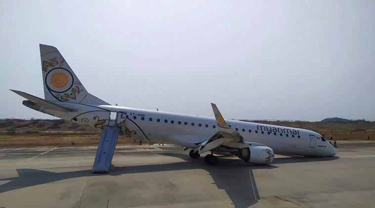 Plane lands without front wheels in Myanmar, passengers escape unhurt