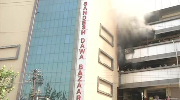 Fire breaks out at a market building in Nagpur