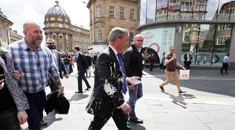 Nigel Farage 'trapped' aboard Brexit bus over milkshake fears
