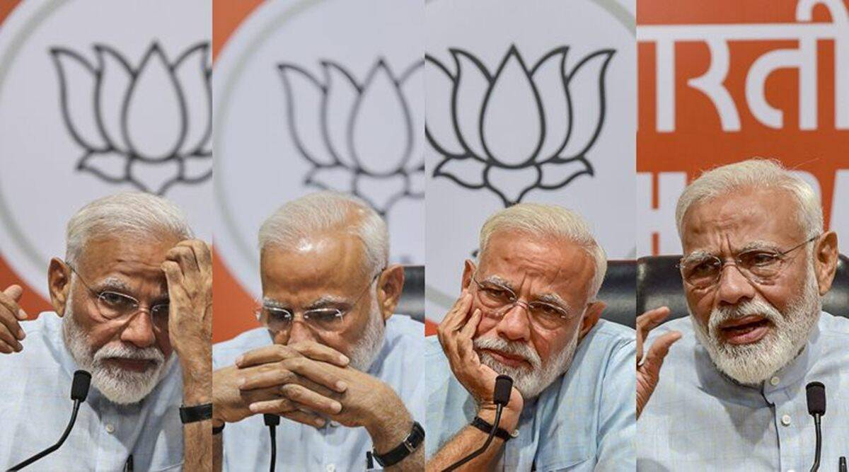 Narendra Modi first press conference, Modi maiden media conference, lok sabha elections, amit shah, modi media questions, indian express