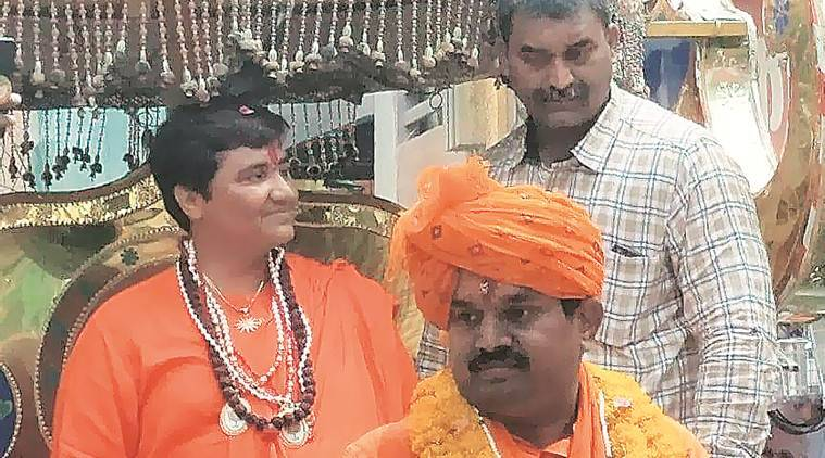 Pragya Thakur campaigns for former judge in Dewas