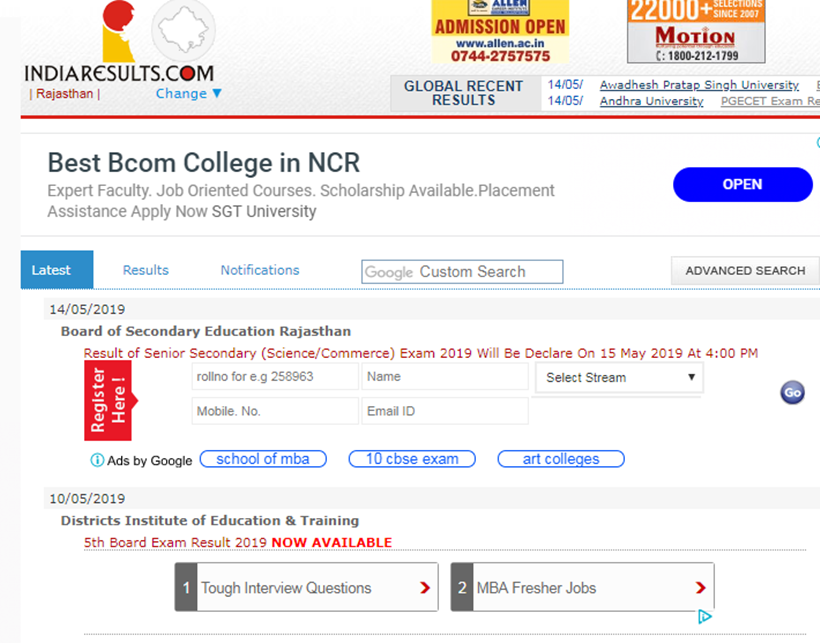rbse, rbse 12th result 2019, 12th arts result 2019, 12th arts result 2019, rajasthan board exam results, rajasthan board exam results 2019, rajasthan 12th afts results, bser 12th result, rajasthan board, rajresults.nic.in, rajeduboard.rajasthan.gov.in, education news, indian express news