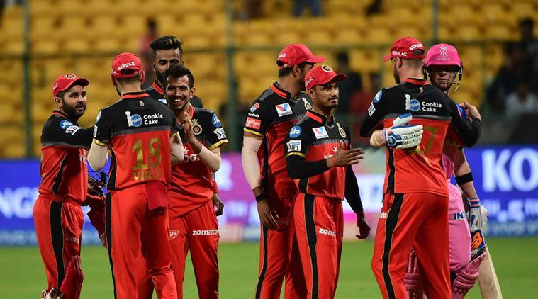 RR. Batsman Steve Smith shakes hand with RCB player AB De Villiers after the match was called off due to rain during the Indian Premier League 2019 (IPL T20) cricket match between Royal Challengers Bangalore (RCB) and Rajasthan Royals (RR) at Chinnaswamy Stadium in Bengaluru