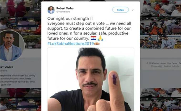 Rober vadra, robert vadra uruguay flag, robert vardra uruguay flag tweet, robert vadra tweet, robert vadra trolled, robert vadra election selfie, lok sabha elections, election news, indian express