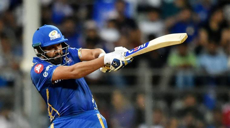 MI player Rohit Sharma plays a shot during the Indian Premier League 2019 (IPL T20) cricket match between Kolkata Knight Riders (KKR) and Mumbai Indians (MI) at Wankhede Stadium in Mumbai