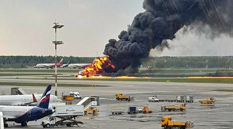 Russian passenger plane fire, Russia plane fire, Russia plane crash, Aeroflot passenger plane fire, plane catches fire, Russian plane fire dead, Russian plane fire death toll, World news, Indian Express