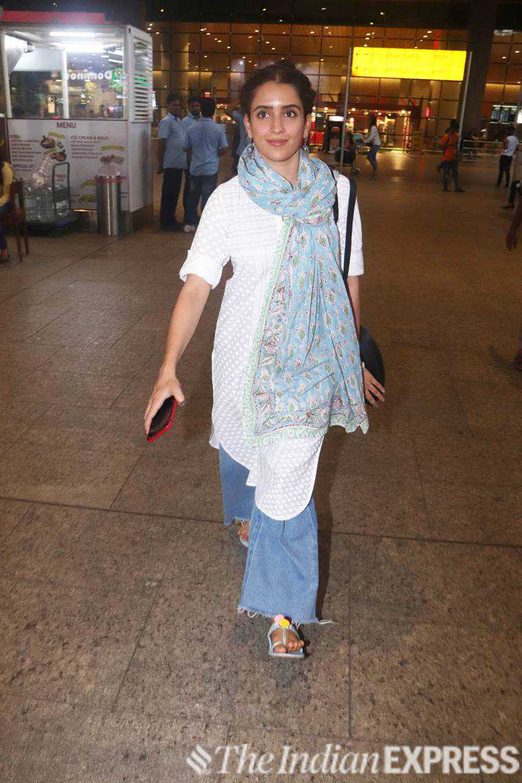 sanya malhotra, celeb fashion, airport look, indian express, indian express news