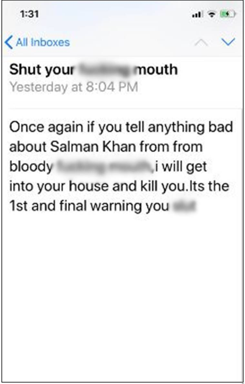 sona mohaptra death threat