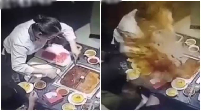 china, china soup blast, boiling soup, Boiling Soup Explodes In Woman's Face, chef boiling soup viral video, china viral video,