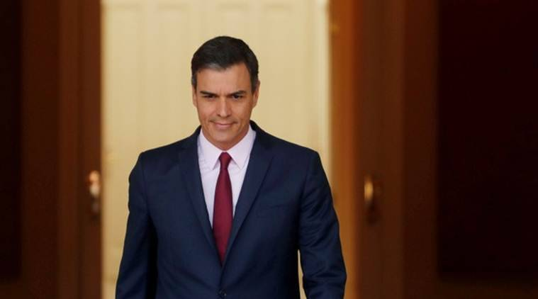 spain Prime Minister Pedro Sanchez, spain parliament, spain lockdown, coronavirus news, covid-19 outbreak, world news, indian express