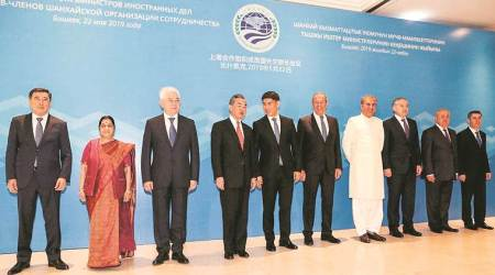 Sushma Swaraj, Shanghai Cooperation Organisation, Sushma swaraj sco meet, SCO joint anti-terrorism exercise, india at sco, sushma swaraj, india china relations, Paris Agreement, world news, indian express