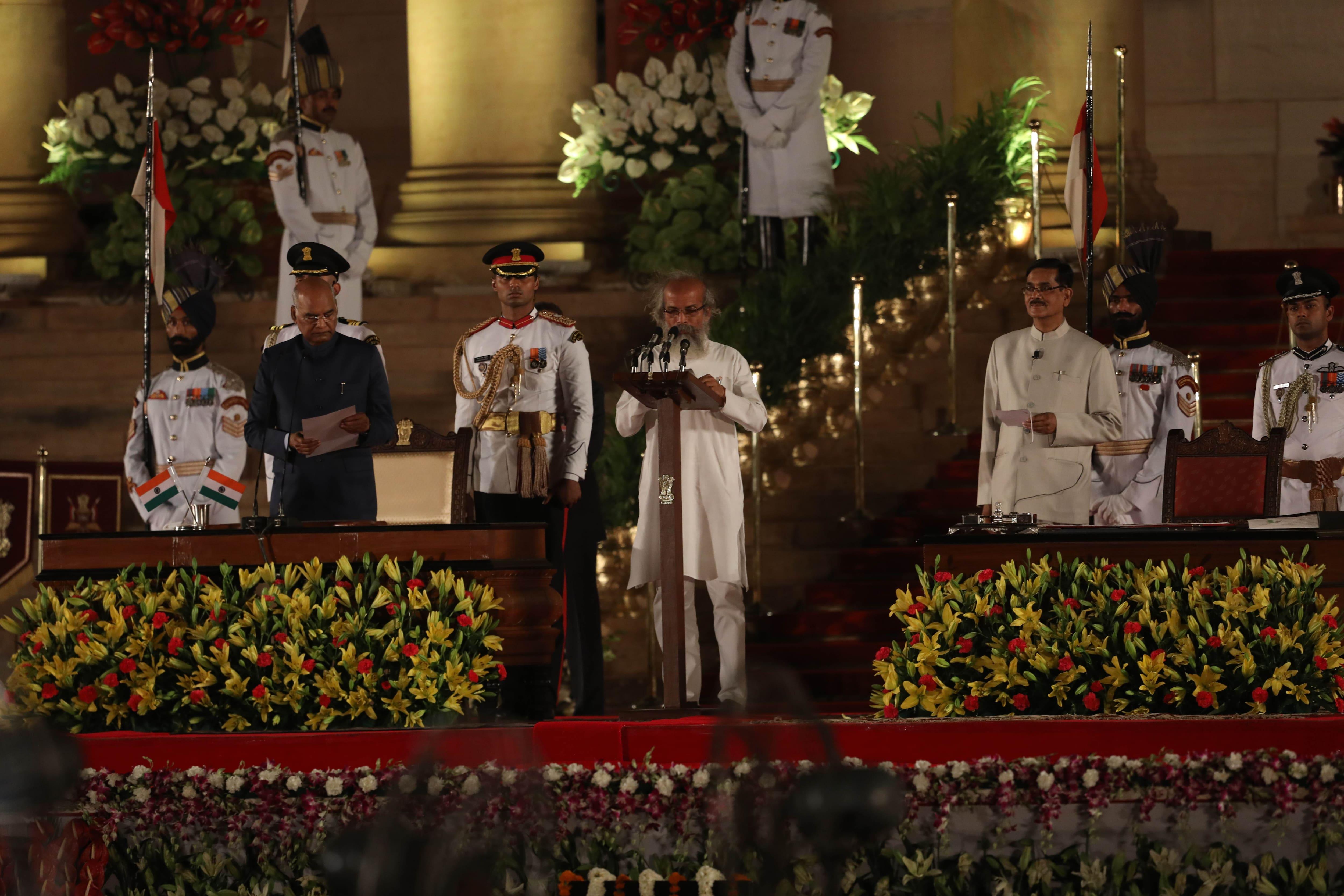 Modi swearing in, Pratap Chandra Sarangi, sarangi oath taking, Narendra Modi government, Minister of State for Odisha, Narendra Modi council of ministers, India news, Indian Express