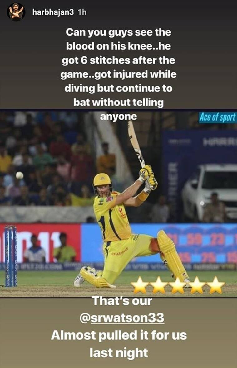 Harbhajan Singh posted an Instagram story related to Shane Watson.