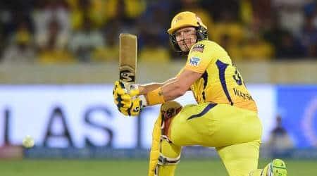 Chennai Super Kings (CSK) batsman Shane Watson plays a shot during the Indian Premier League Final between Chennai Super Kings (CSK) and Mumbai Indians (MI) at Rajiv Gandhi International Cricket Stadium in Hyderabad.