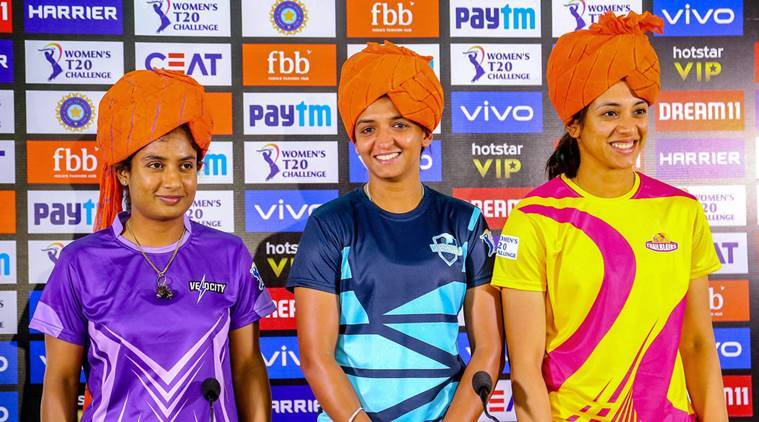 Velocity team captain Mithali Raj , Supernovas team captain Harmanpreet Kaur and Trailblazers team captain Smriti Mandhana address media personnel, ahead of the Women T20 Challenge matches, in Jaipur