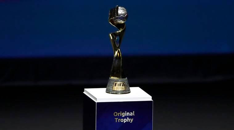 The Women's World Cup trophy is displayed at the women's soccer 2019 World Cup draw, in Boulogne-Billancourt, outside Paris.