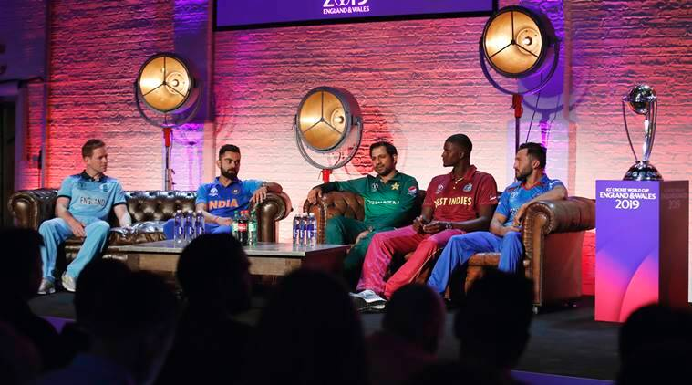 From left, England's Eoin Morgan, India's Virat Kohli, Pakistan's Sarfaraz Ahmed, West Indies' Jason Holder and Afghanistan's Gulbadin Naib are seated, during the Captain's Press Conference