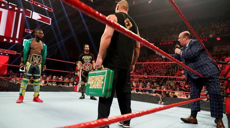 Brock Lesnar, Paul Heyman, Seth Rollins and Kofi Kingston on WWE Raw
