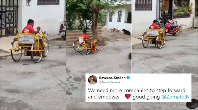 zomato, zomato deliver man, zomato handicapped delivery guy, zomato disabled delivery man video, viral videos, indian express, jobs for differently abled,