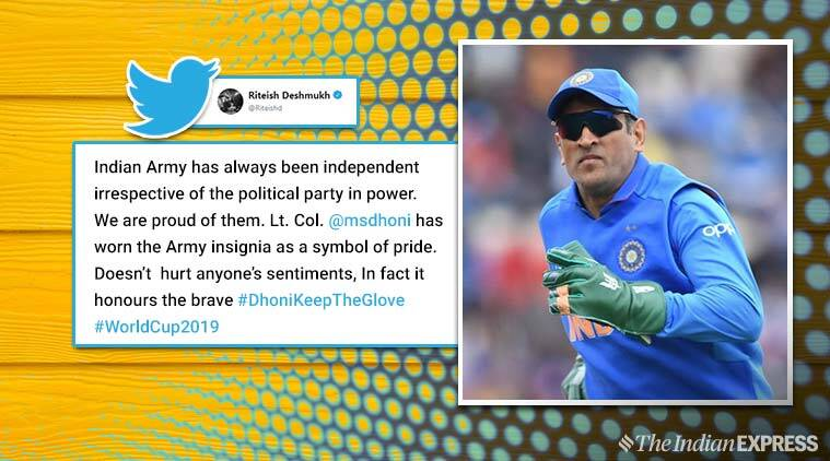 MS Dhoni, ICC, army insignia, dhoni gloves, Dhoni army symbol gloves, dhoni keep the glove, viral news. sports news, cricket news, indian express