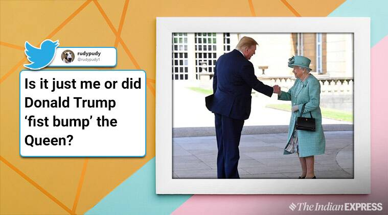 donald trump, donald trump fist bump, donald trump fist bumps viral pic, the queen, trump, queen viral pic. trending, twitter reactions, indian express, indian express news
